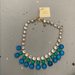 Blue and green jewel necklace